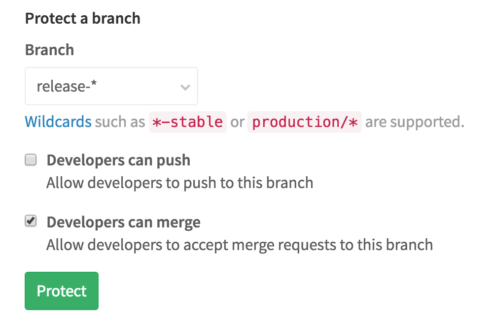 Allow developers to merge to protected branches in GitLab 8.10