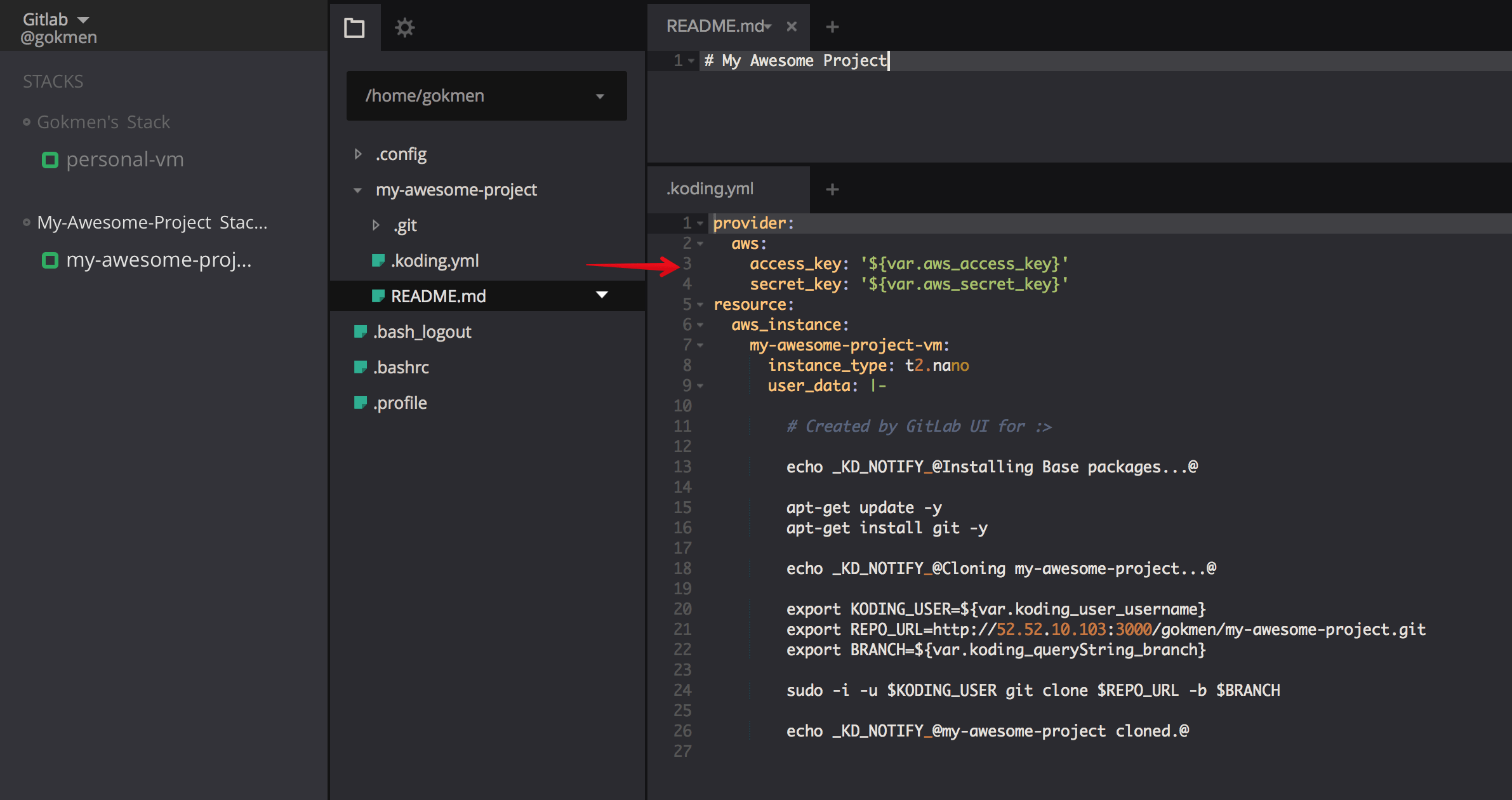 Koding, an integrated IDE in GitLab 8.11