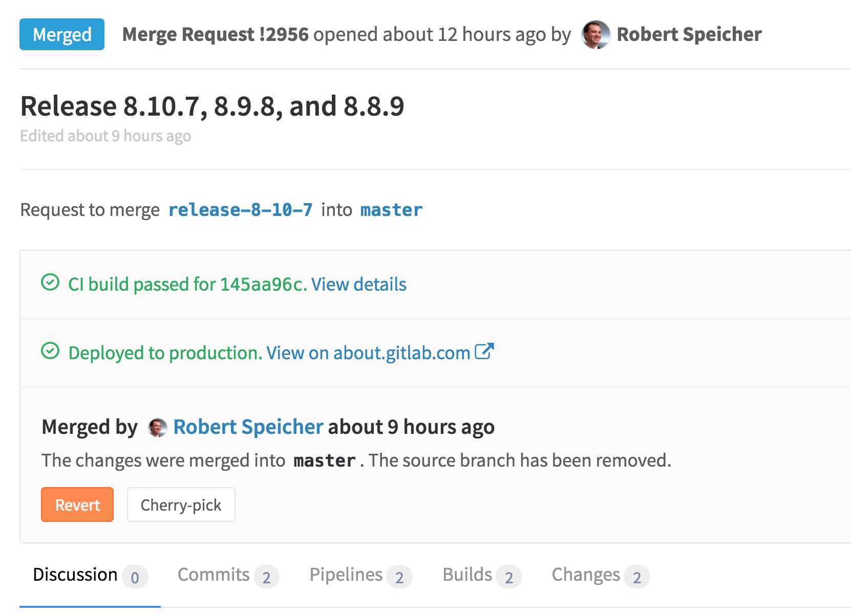 See deploy status in merge request in GitLab 8.11