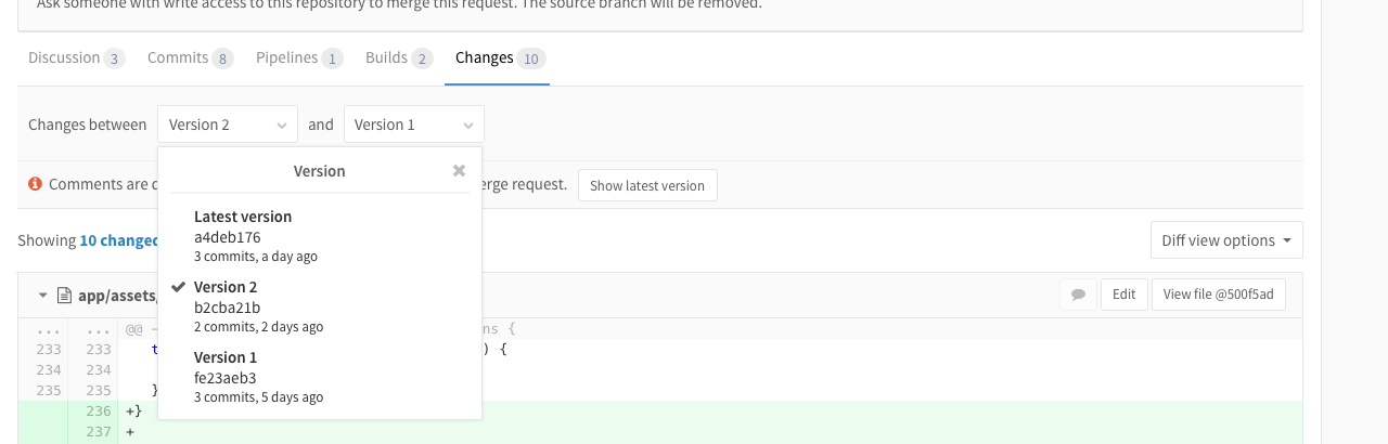 Merge Request Versions in GitLab 8.12