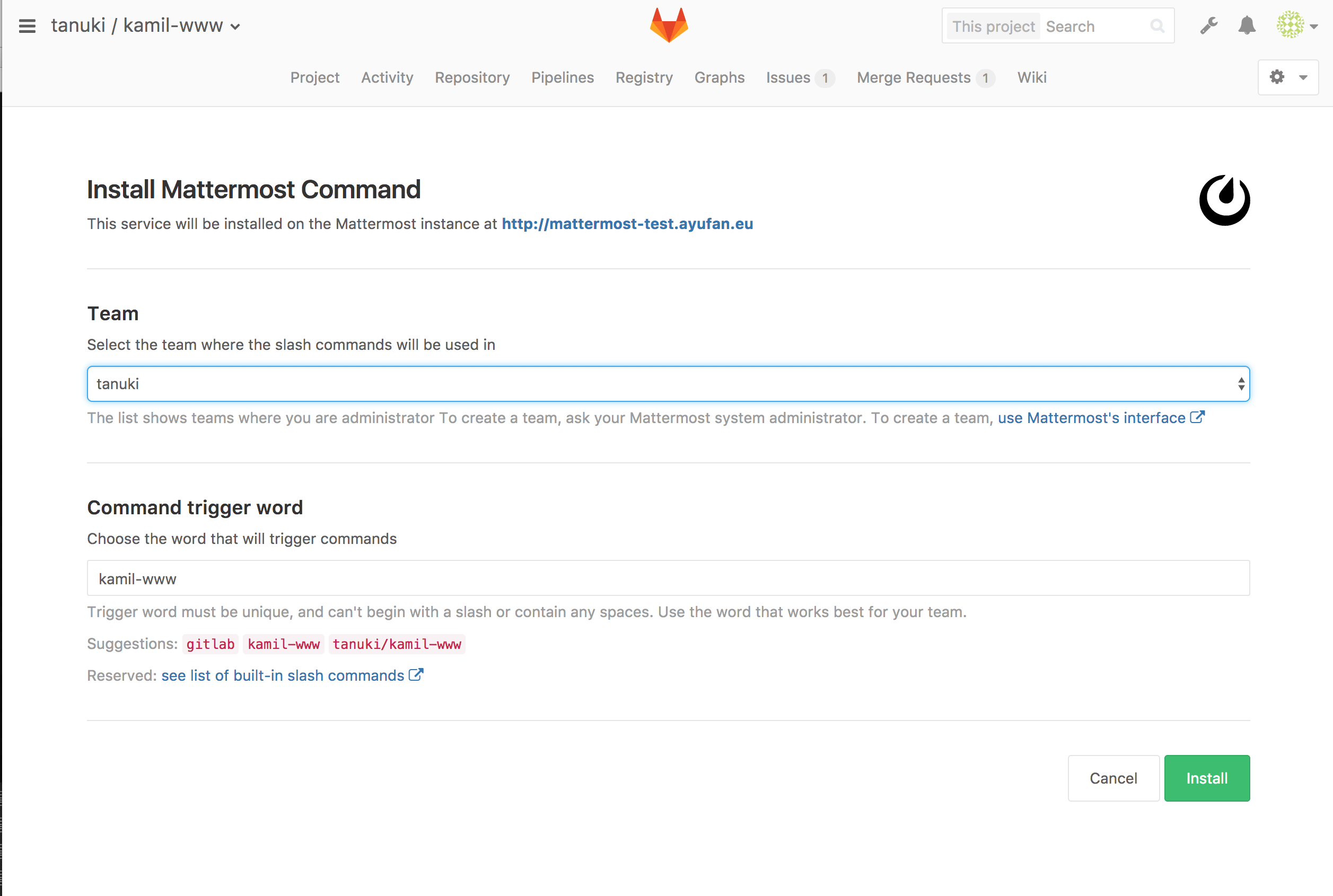 Super easy Mattermost configuration in GitLab 8.15