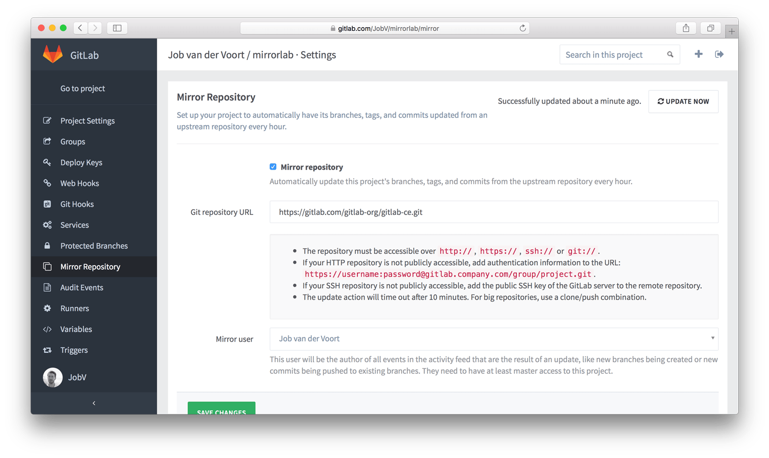Mirror any repository automatically in GitLab 8.2 EE