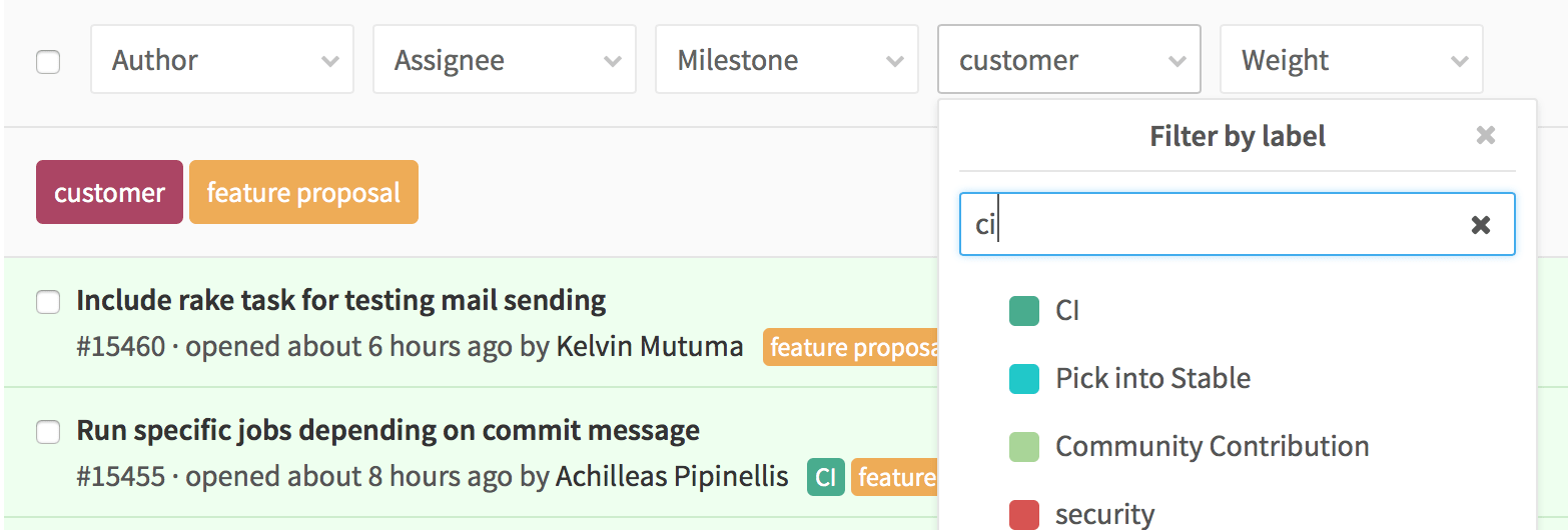 Multiple label filter in GitLab 8.7