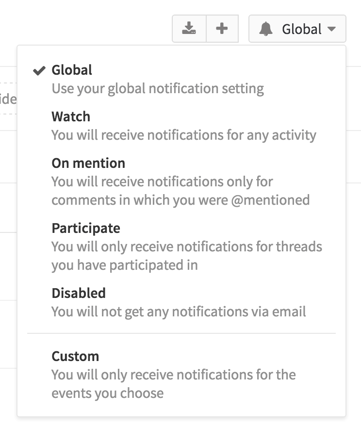 Custom notification level in GitLab 8.9