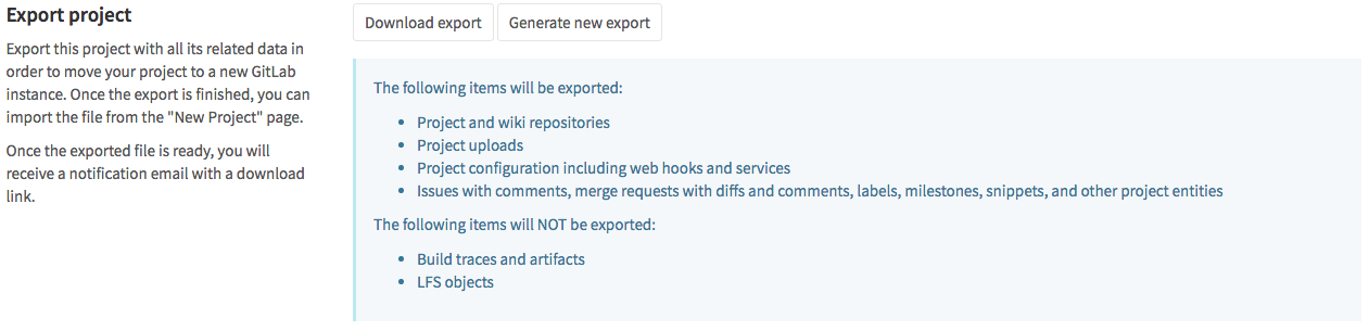 Export entire projects with GitLab 8.9