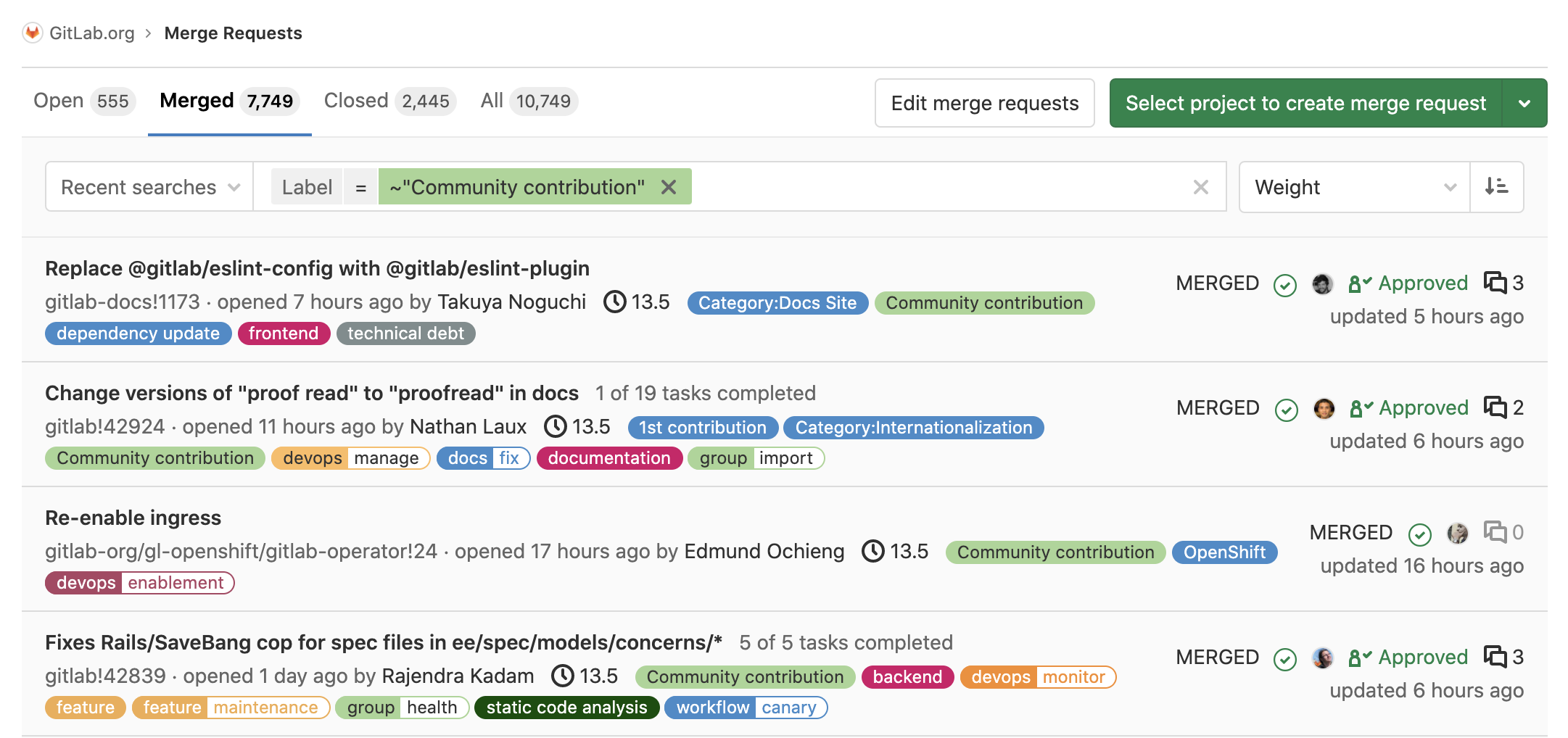 Screenshot showing more than 7,700 merged community MRs