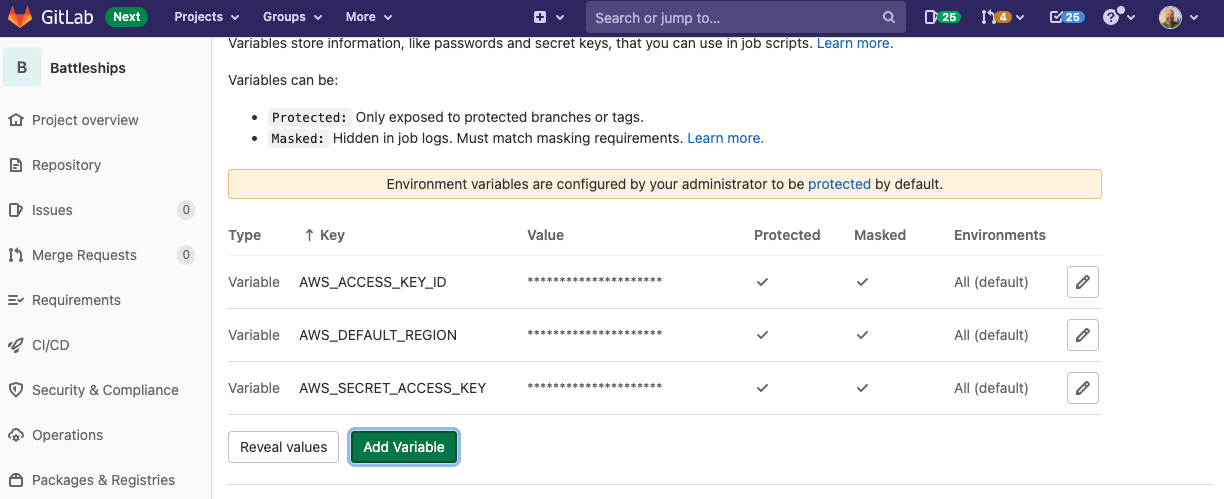 Configure AWS credentials as masked CI/CD variables