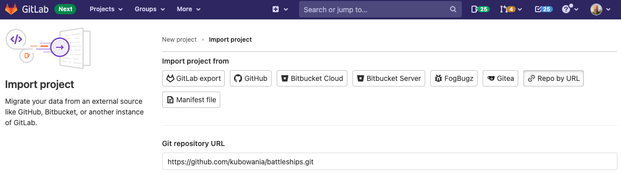 Import the GitHub repository into GitLab
