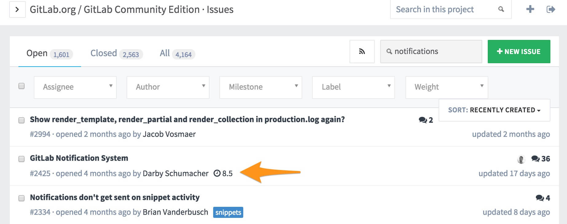 GitLab issue queue showing milestone