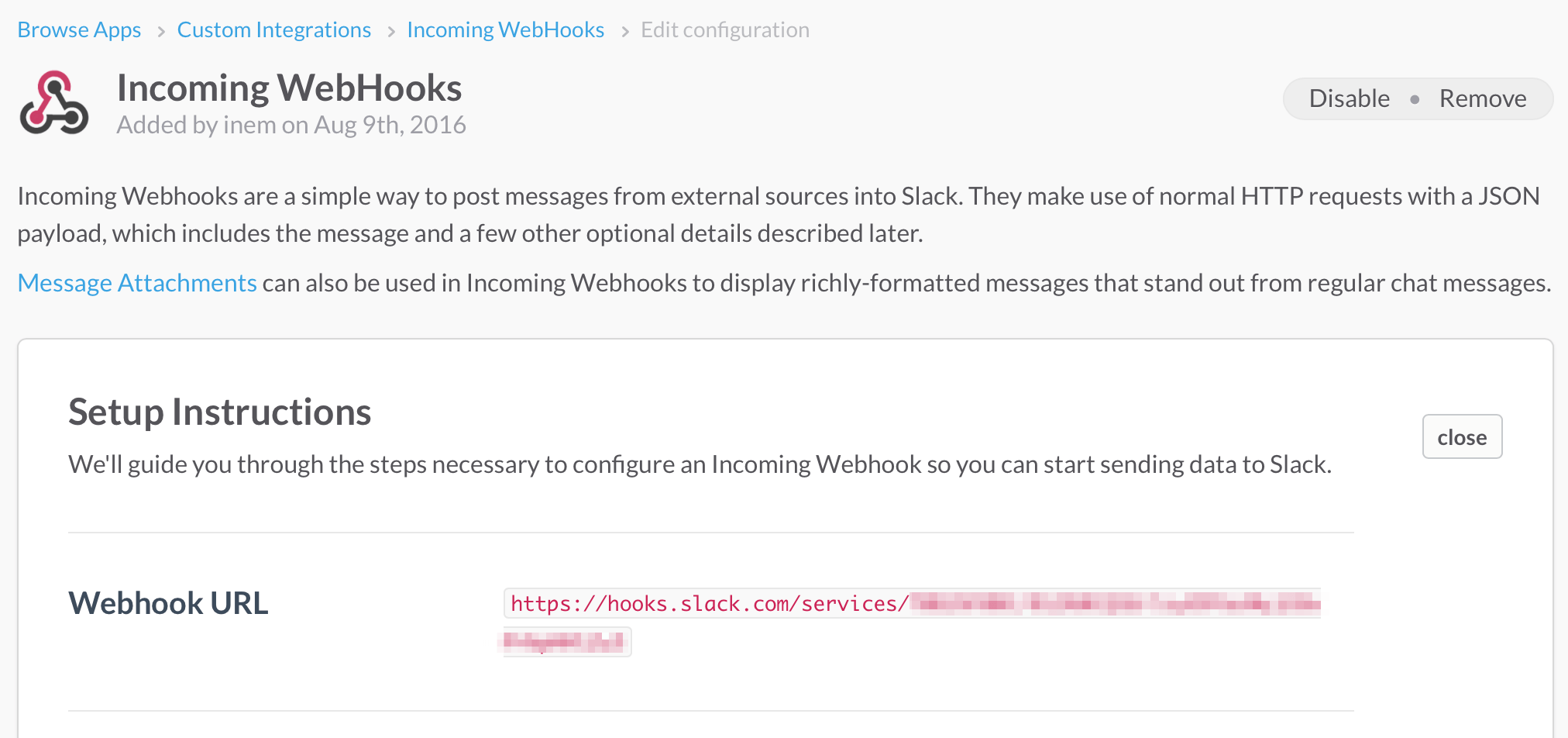 Grabbing Incoming WebHook URL in Slack