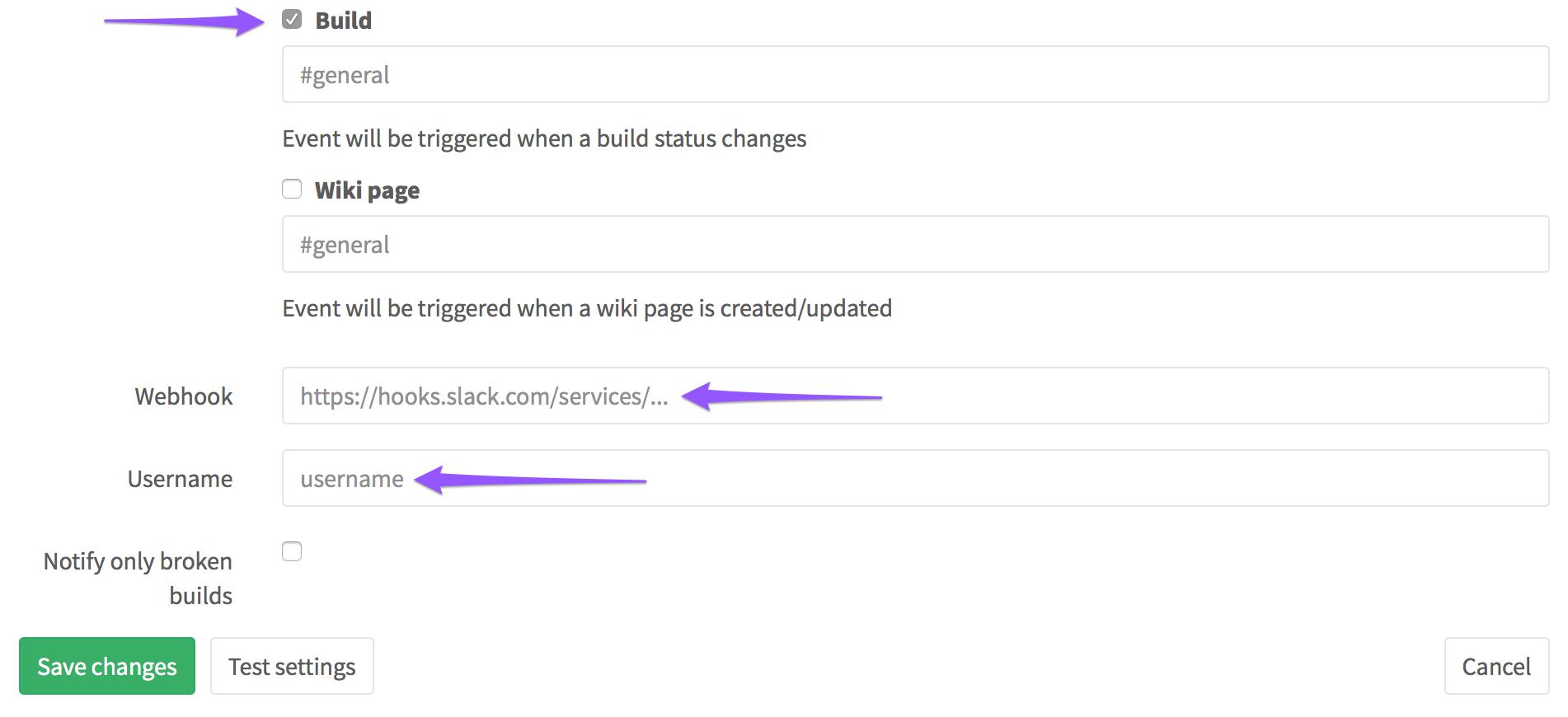 Configuring Slack Service in GitLab