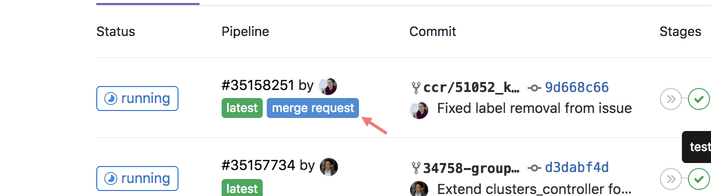 pipelines for merge requests