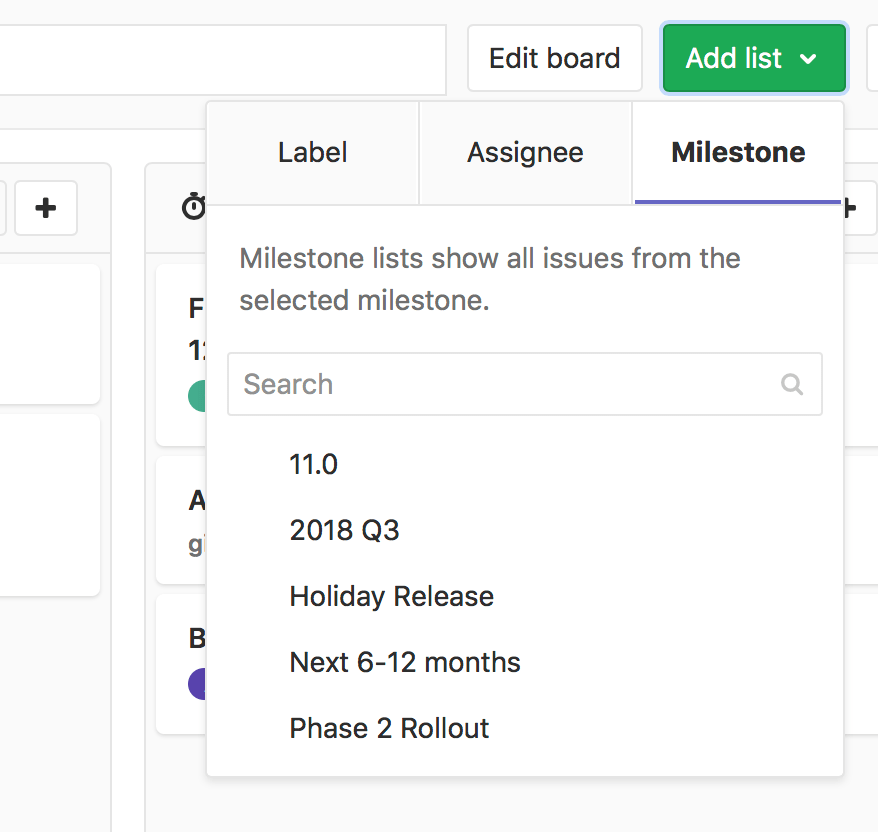 Create milestone list