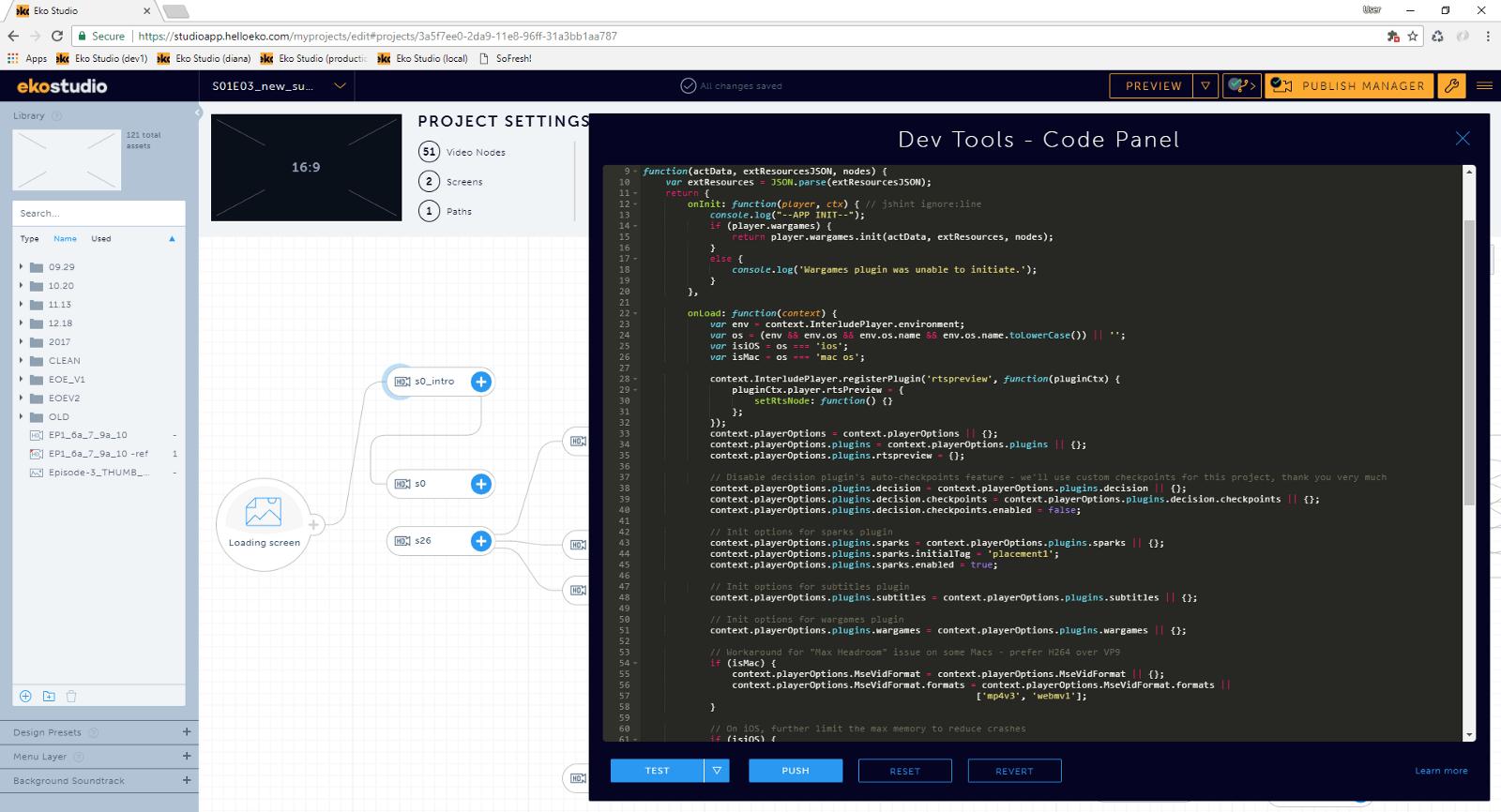 Eko Studio code panel