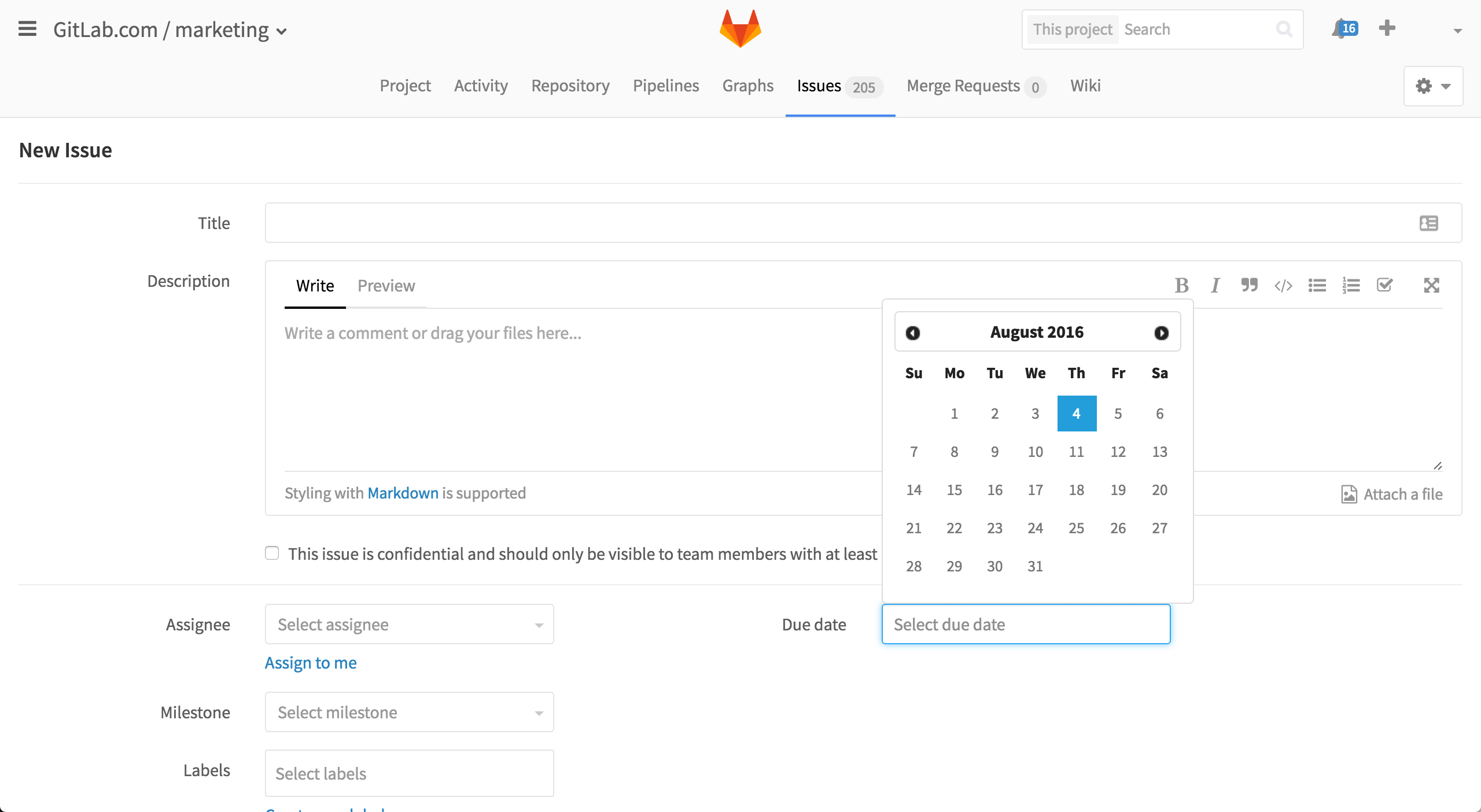 Due date for issues in GitLab 8.7