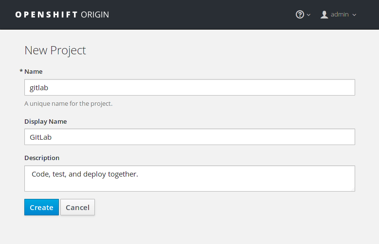 Create a new project from the UI