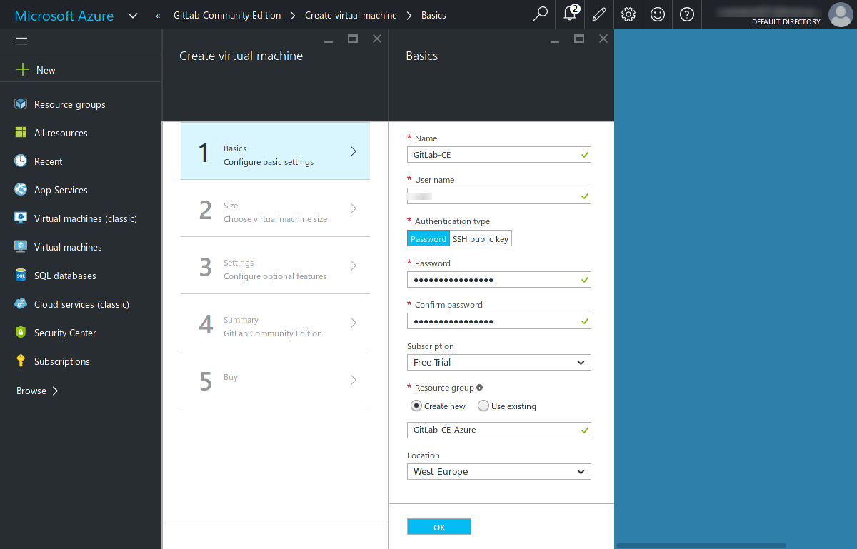 GitLab on Azure - Basic settings