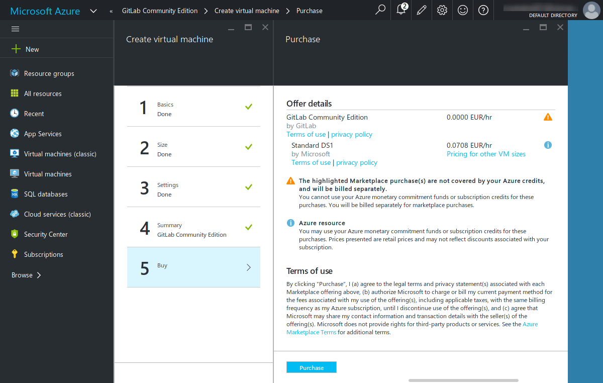 Azure create VM - Summary