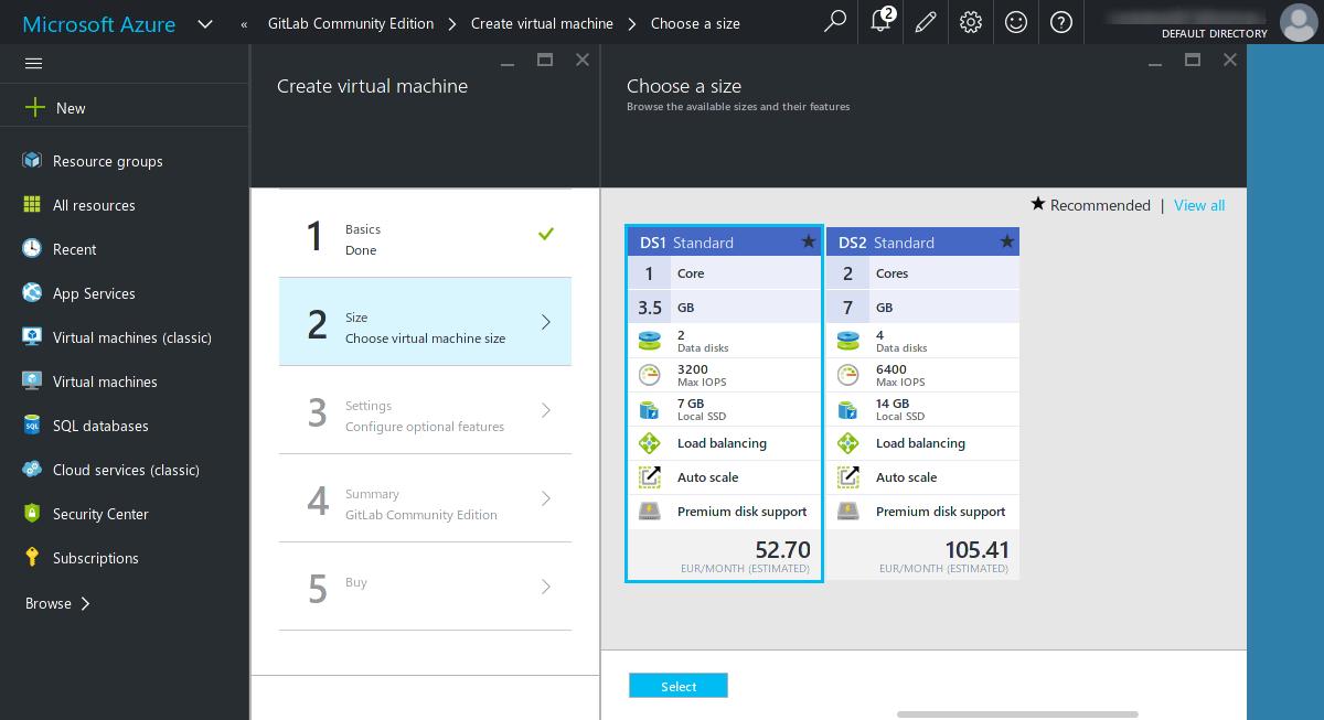 Choose a VM size for GitLab on Azure