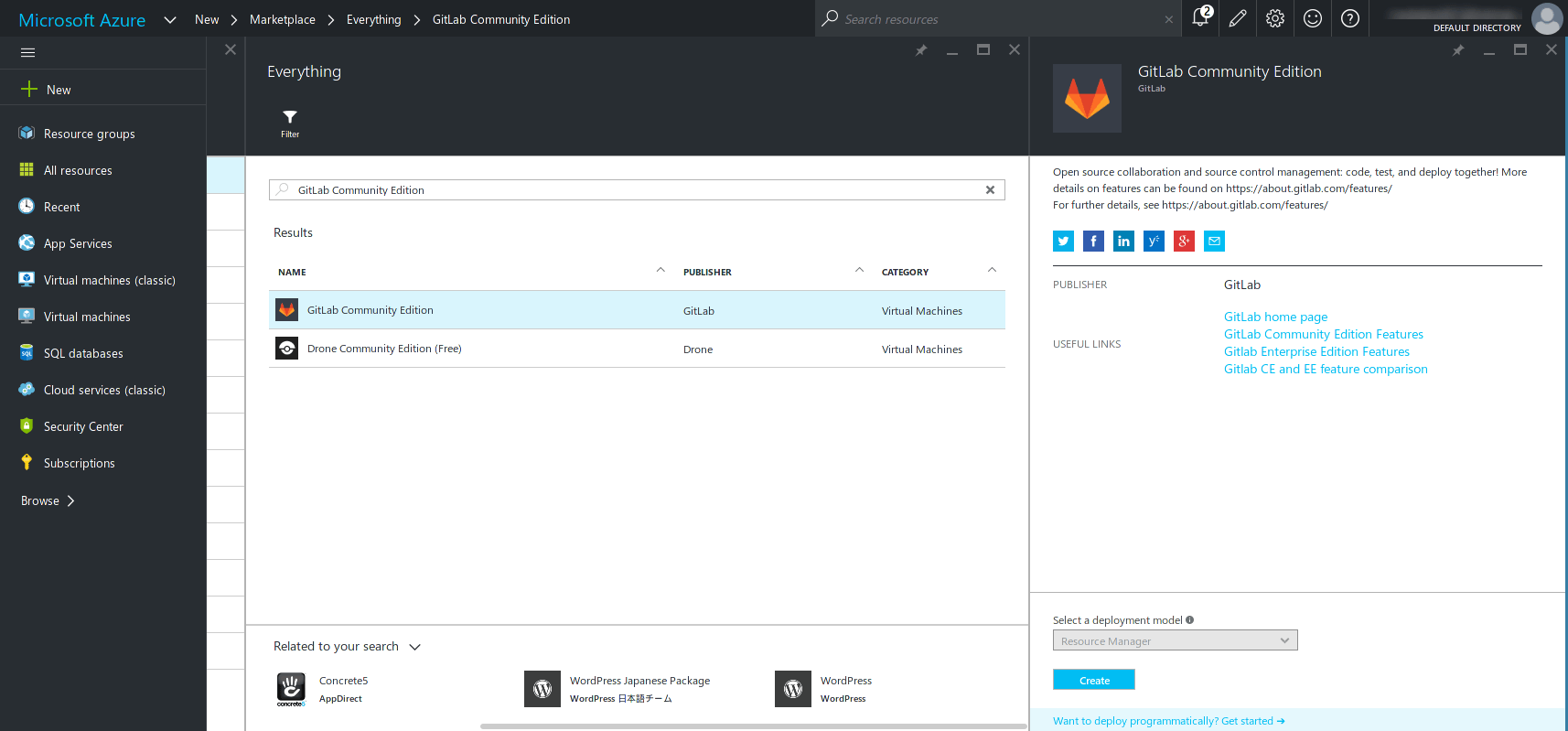 Search for GitLab on Azure Marketplace