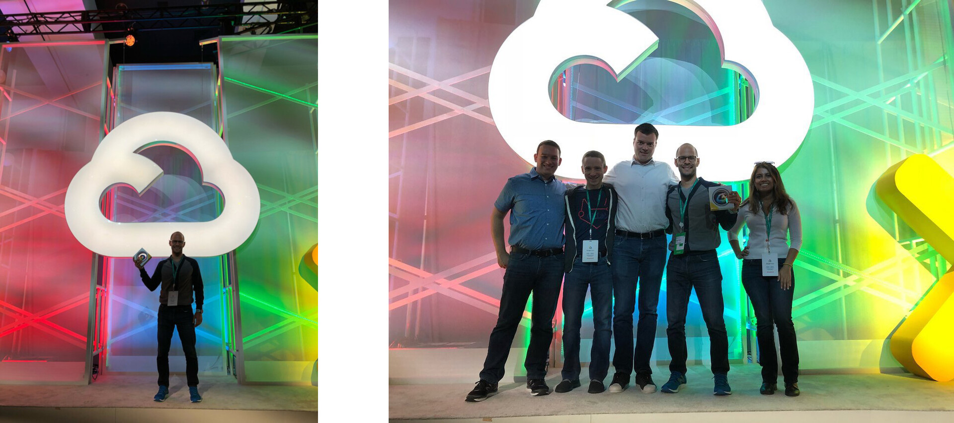 Eliran Mesika with GitLab's award + GitLab team with award