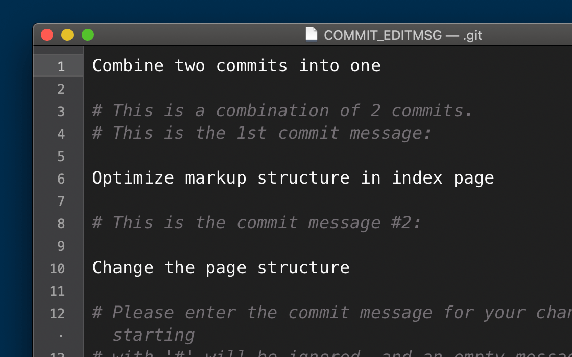 Entering a new message for the new, squashed commit