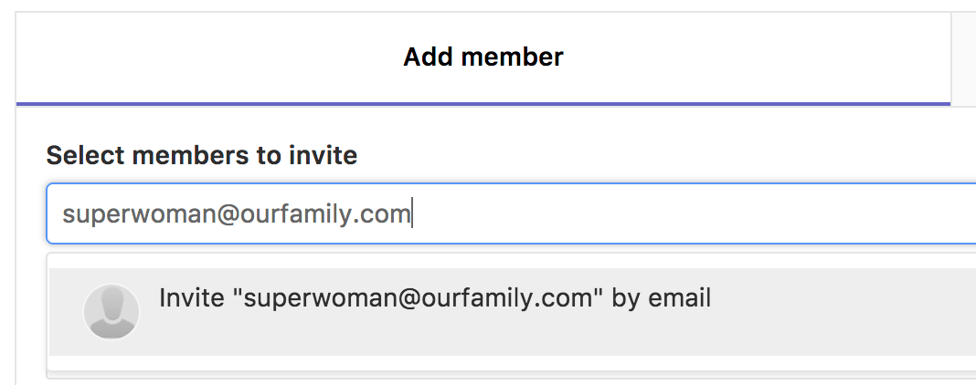 Invite member by e-mail