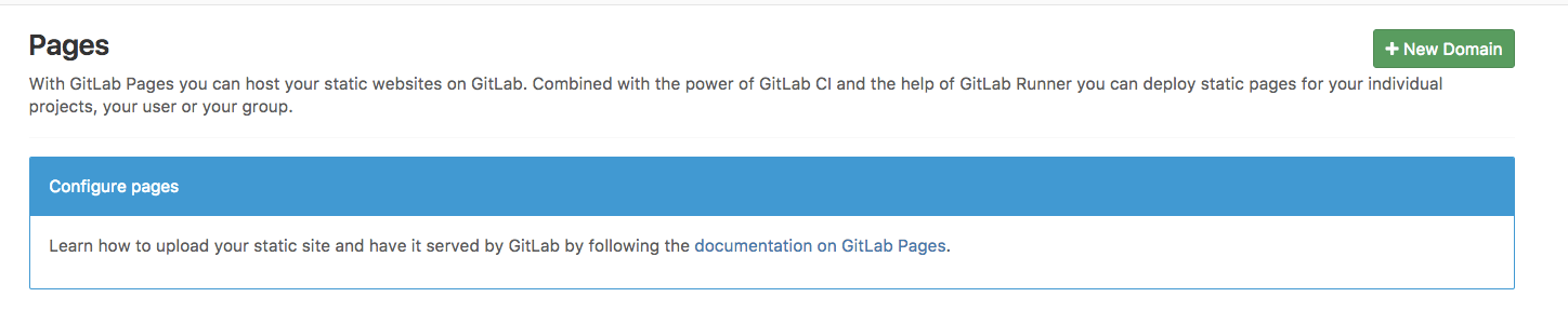 configure GitLab Pages