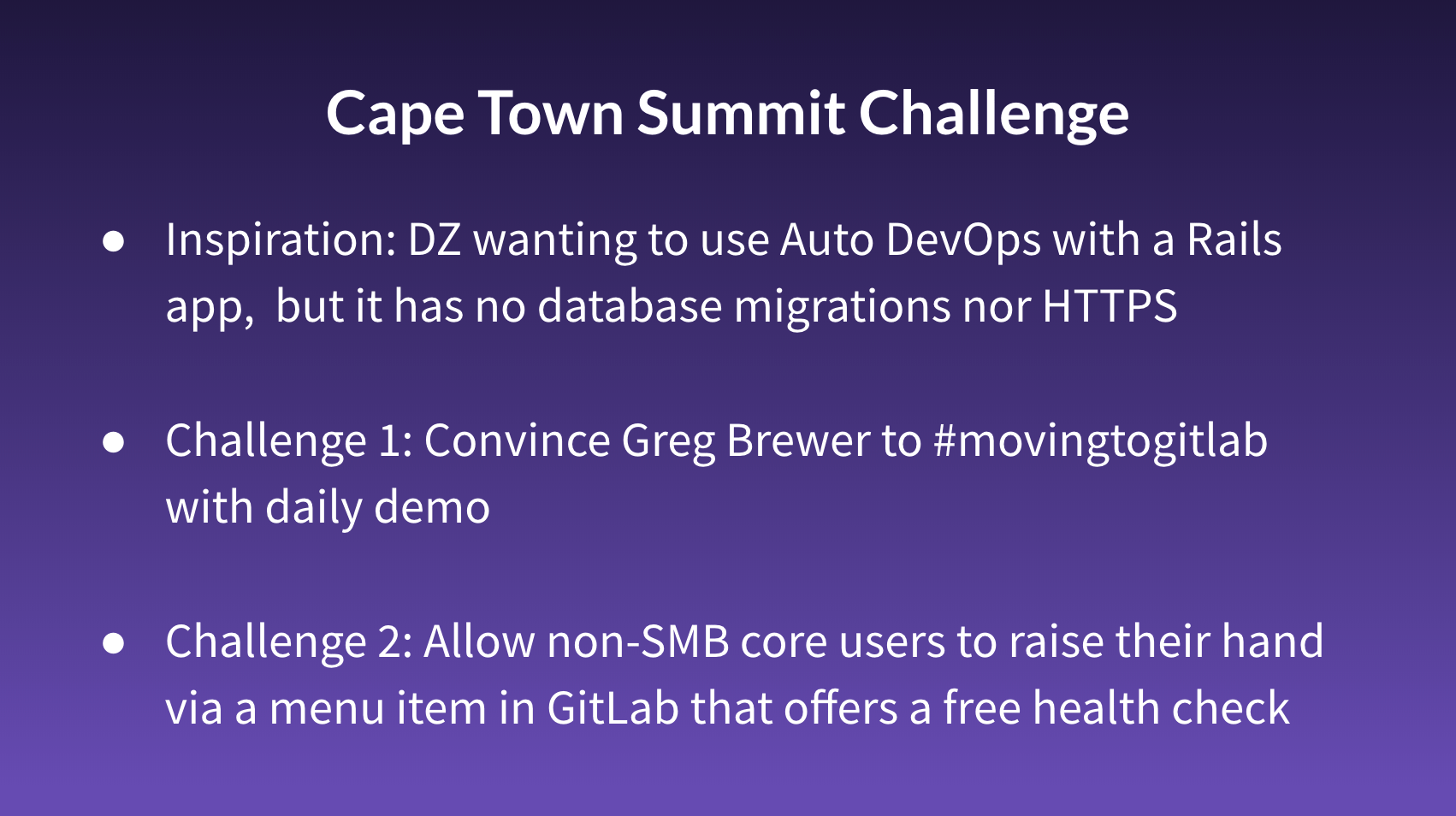 Cape Town summit challenges