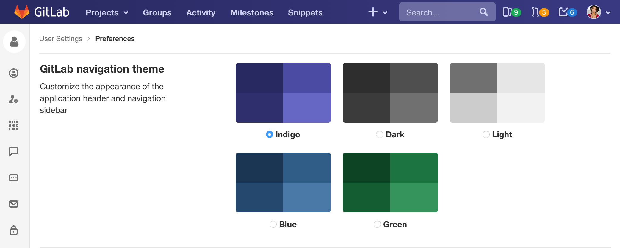 navigation color themes