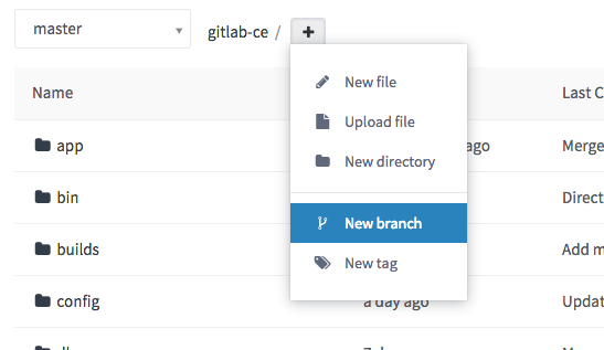 New branch dropdown