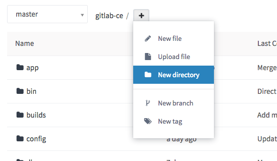 New directory dropdown