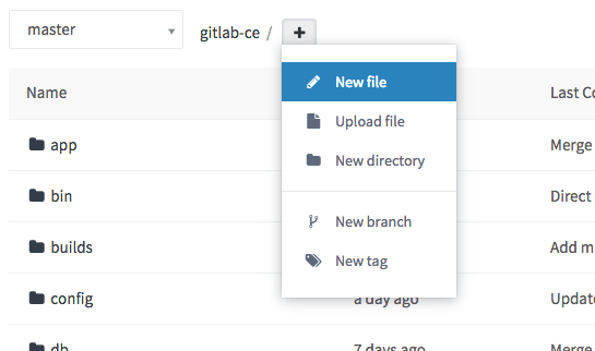 New file dropdown menu