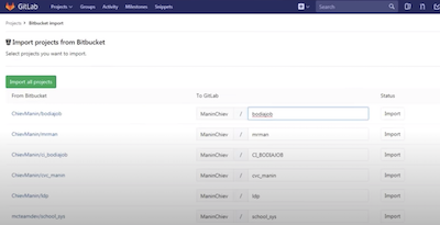 Import bitbucket to gitlab