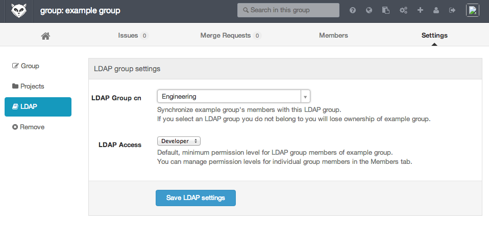 LDAP group settings filled in