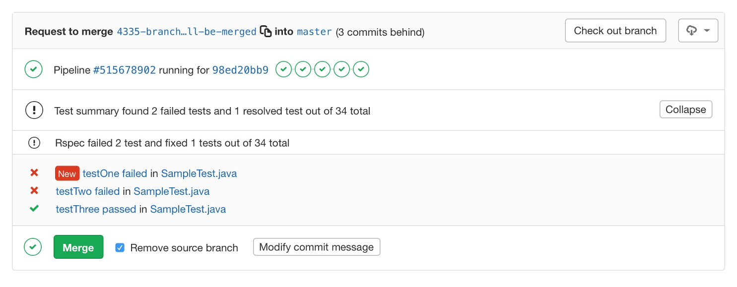 See JUnit test summaries in merge request widget