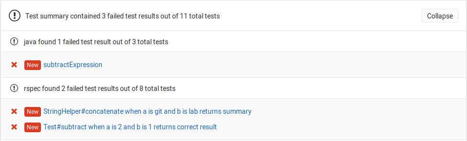See unit test summaries in merge request widget