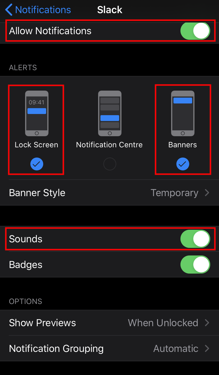 screenshot of iOS notification settings