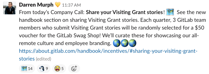 GitLab #company-announcements Slack channel