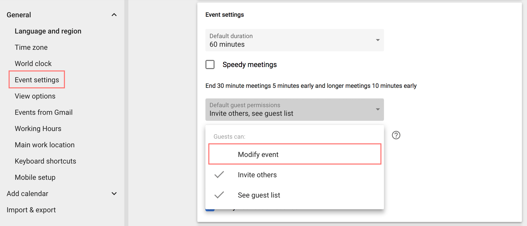 Google Calendar - Guests can modify events setting