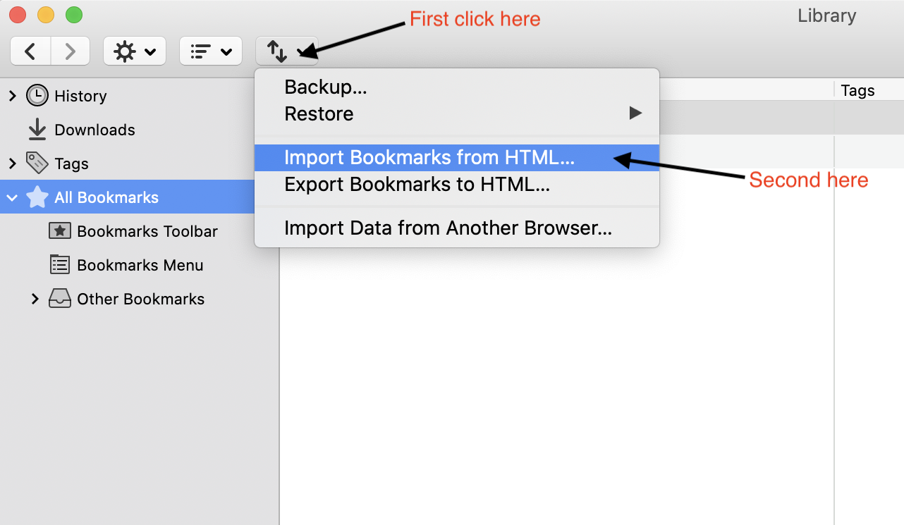 Firefox Import Bookmark