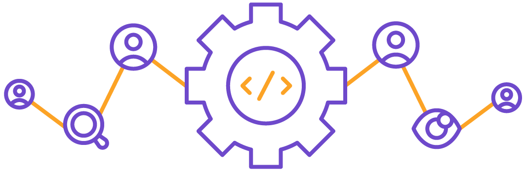 Lines of code in the middle surrounded by four people, a magnifying glass, and a pair of eyes to illustrate code review