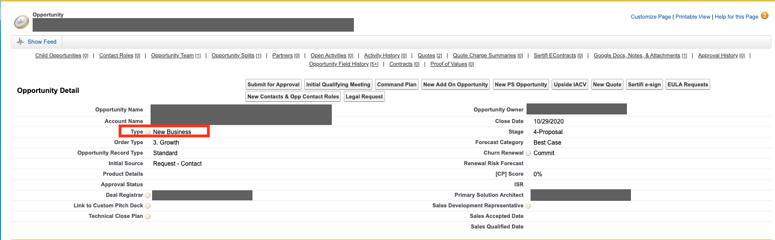 "Screenshot of Salesforce, highlighting the Opportunity Details ""type"" field."