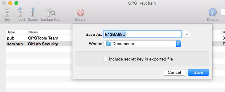 GPG Keychain Export